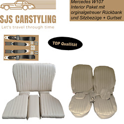 Seat Covers + Back Seat Foldable + Seat Belts Parchment For Mercedes Sl 107