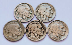 Lot Of 5 Mixed Date 1915-s - 1931-s Buffalo Nickels Very Good - Extra Fine