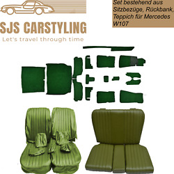 Seat Covers + Back Seat + Carpet 17 Piece Green For Mercedes Sl R/w107