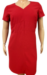 East 5th Red Short Sleeves Back Zipper V Neck Womenand039s Plus Size Lined Dress 20w