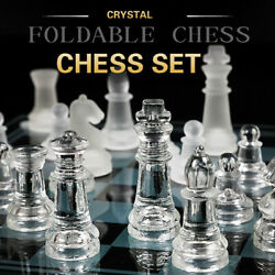 Chess Board Foldable Anti-broken Large Glass Pieces Set Game Vintage 35cmx35cm