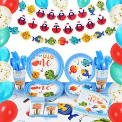 153pcs Gone Fishing Birthday Party Supplies Set Party Decorations For Kids