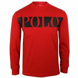 T Shirt Mens Classic Fit Long Sleeve Red And Black Crew Neck Top