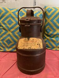 Vintage Metal Milk Container With Lid Rustic Dairy Container Jug Steel Country
