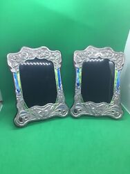 Antique Style Enamel Sterling Solid Silver Pair Of Photo Pictures Frames