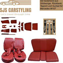 Seat Covers + Back Seat + Carpet Set + Belts For Mercedes Sl R/w107, Red