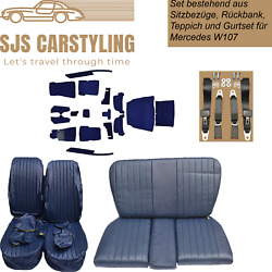 Seat Covers + Back + Carpet With Insulation + Belts Blue For Mercedes Sl R/w107