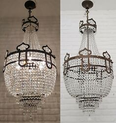 Matching Pair Of Antique Vintage Brass And Crystals Moroccan Chandeliers Rare