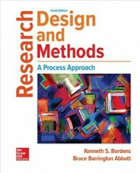 Research Design And Methods Hardcover By Bordens Kenneth S. Brand New Fre...