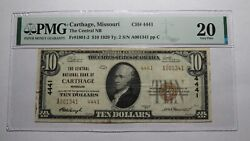 10 1929 Carthage Missouri Mo National Currency Bank Note Bill Ch 4441 Vf20 Pmg