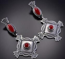 Silver And Coral Navajo Concho Hand Stamp Earrings By Michael Calladitto 1b26t