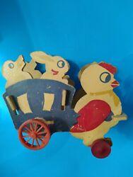 Vintage 1940and039s Easter Chick Bunny Duck Wood Pull Toy Plastic And Wood Wheels