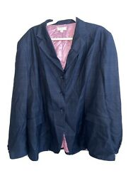The Wellington Collection English Show Coat Navy Blue With Pink P Size 18r