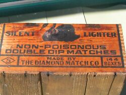 Vintage Double Dip Diamond Matches Black Swan Wood Crate 2 Corners Dovetailed