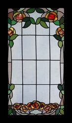 Stunning Rare Art Nouveau English Floral Stained Glass Window