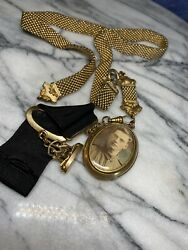 Antique Gold Filled Woven Pocket Watch Chain And Fob