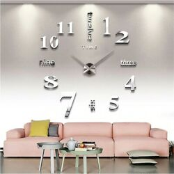 Creative Hot Removable Living Room Home Decor 3D Clock Mirror Wall Stickers