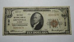 10 1929 Arenzville Illinois Il National Currency Bank Note Bill Ch 9183 Fine