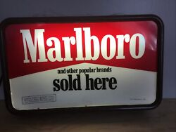 Vintage Marlboro Cigarette Lighted Sign 20x12x4 Inches. Tested And Works