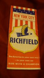 New York City Manhattan Richfield Gas And Oil Road Travel Map 1950and039s Arco Mb