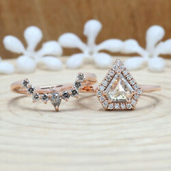 Real Solid 14k Rose Gold 1ct Shield Cut Salt And Pepper Diamond Engagement 2pcs