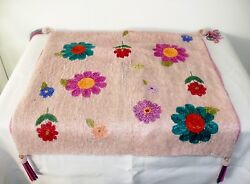 Vintage Hand Glass Micro Beaded Pink Magenta Teal Flower Throw Pillow Cover 18