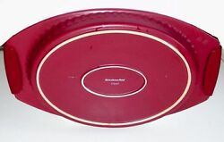 Kitchenaid 3 Qt Cranberry Red Casserole Oval Baking Dish Silicone Grips Bakeware