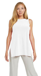 Sympli White Sleeveless Nu Ideal Tunic High Boat Neck Top Blouse Apparel 6 New