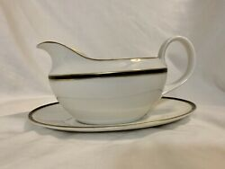Royal Doulton Oxford Black Gravy Boat And Under-plate. Brand New Never Used