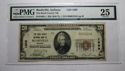 20 1929 Rushville Indiana In National Currency Bank Note Bill Ch 1869 Vf25 Pmg
