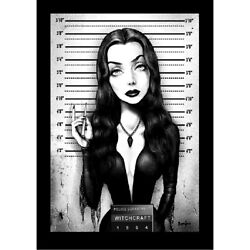 Mrs Addams By Marcus Jones Morticia Mugshot 60s Tv Wrapped Canvas Fine Art Print