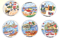 Set Of 6 Vintage Mykonos Round Ceramic Tile Coasters With Stand Greece Unsigned