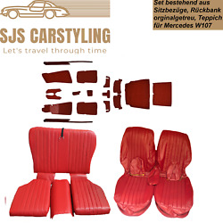 Seat Covers + Back Seat Foldable + Carpet Set, Red For Mercedes Sl R/w107