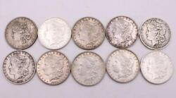 10x Morgan Silver Dollars 1883-1900 10-different Coins Please View List And Images