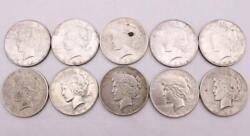 10x Peace Silver Dollars 5x1922 1924 1925 1926d 2x1926s 10-coins See Images