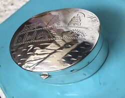 Taxco Sterling Silver 925 Vintage Oval Pill Or Snuff Box Beautifully Engraved