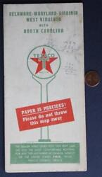 1950s Texaco Skychief Gas And Motor Oil Delaware- Maryland- Virginia-more Road Map