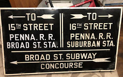 Rare 1930s Pennsylvania Rr/broad St. Subway Porcelain Sign 1 Sided 3ft X 5ft