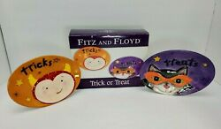 Halloween Fitz And Floyd Trick Or Treat Snack Plates Black Cat And Devil Boy