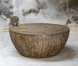 Wood Coffee Table Round Mango With Aged Walnut Finshed Wood Coffee Table
