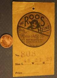 1900-10s Chicago Illinois The Roos Manufacturing Cedar Wood Chest Tag-vintage