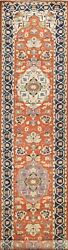 Vegetable Dye Floral Heriz Oriental Hand-knotted Long Runner Rug 2and039 8 X 17and039 5