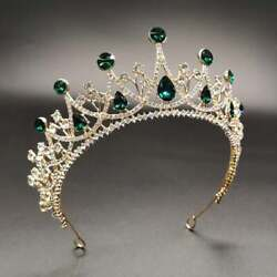 925 Solid Sterling Silver Diamond Emerald Vintage Green Crown Bridal Jewelry