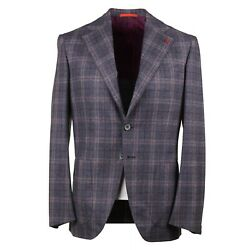 Isaia 'marechiaro' Gray And Pink Check Soft Flannel Wool Suit 38r Eu 48