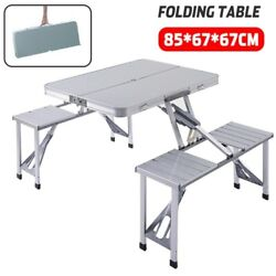 Portable Folding Aluminium Suitcase Table 4 Chairs-camping/outdoor -usa Seller