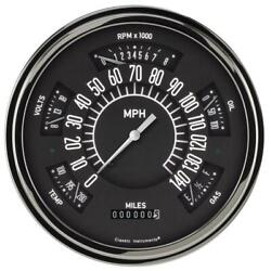 Classic Instruments Six Pack Gauge, 1949-50 Chevy, Gray
