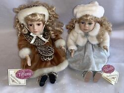 2 Collectors Choice Musical Sitting Porcelain Dolls W/ Coa Mackenzie And