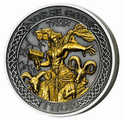 2020 Cook Islands Norse Gods Thor 2 Oz Silver W/ Gold Plating Antiqued 1 Coin