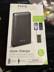 Ihome Power Rechargeable Battery - Stow Charge - 10000 Mah - Black