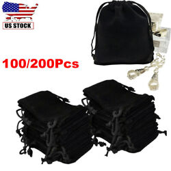 100 200Pcs Black Drawstrings Velvet Bags Jewelry Candy Gift Wedding Party Favors $18.96